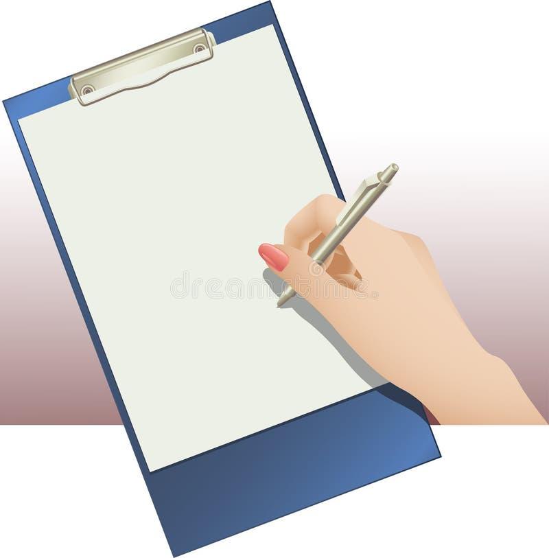 Garniture et main de clip avec le crayon lecteur illustration libre de droits