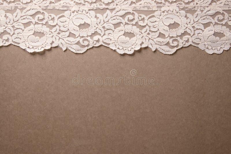 Garniture rose de lacet de cru images stock