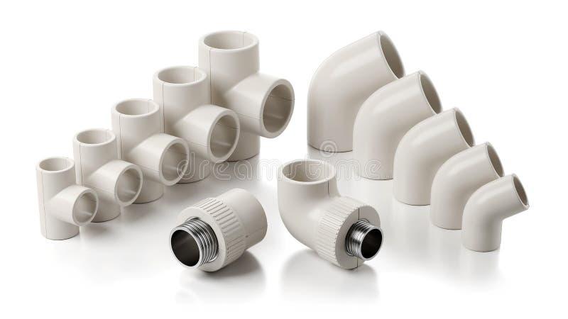 Garnitures de PVC de canalisation d'isolement sur le fond blanc illustration stock