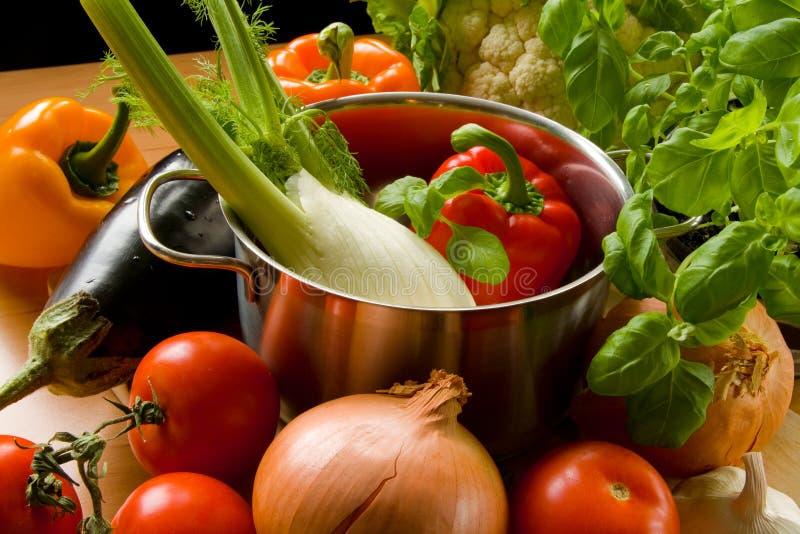 garnków kulinarni warzywa zdjęcia royalty free