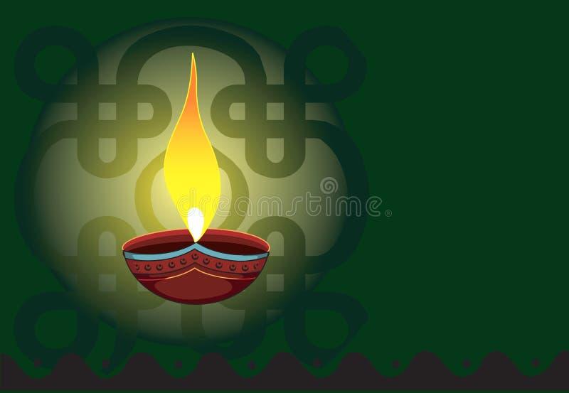 Garnka lampa w radianta zieleni ligh ilustracji