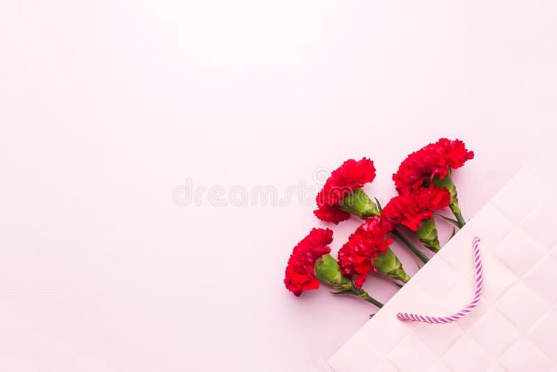 Garofani rossi su fondo rosa con lo spazio della copia Carta di festa della Mamma, San Valentino immagini stock