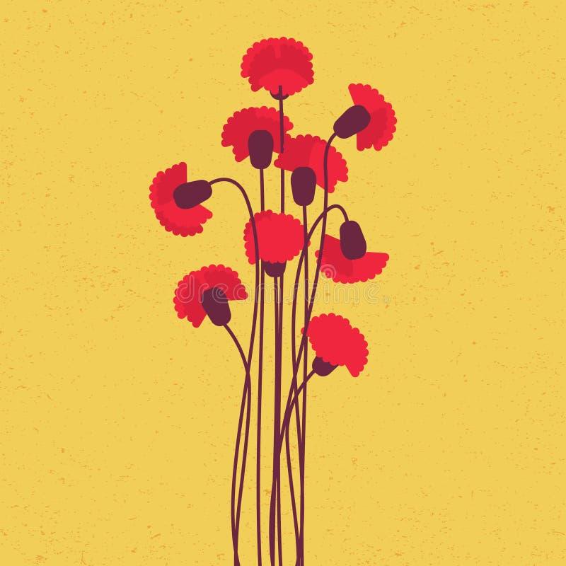 Garofano rosso illustrazione vettoriale