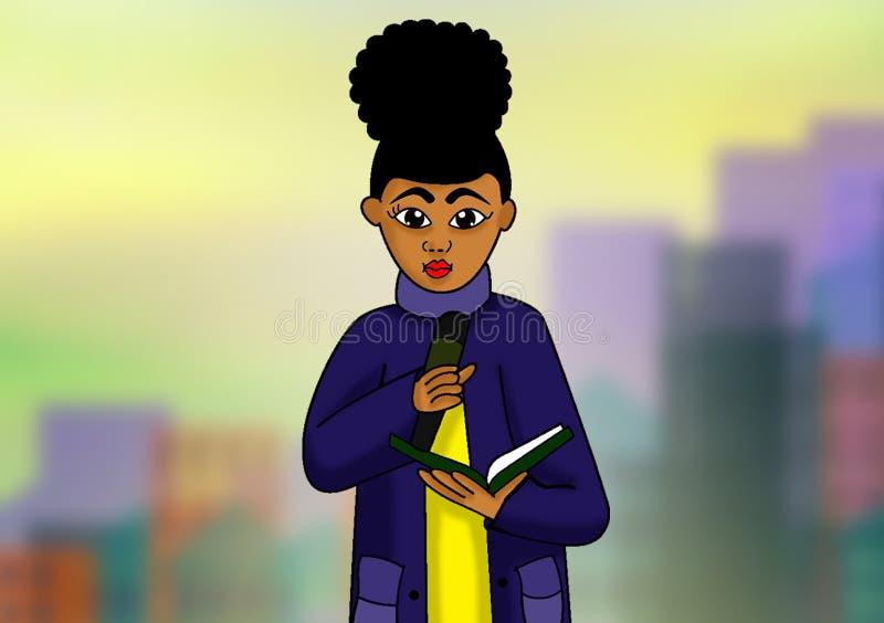 Garota africana fazendo um discurso com referências de livros ilustração do vetor