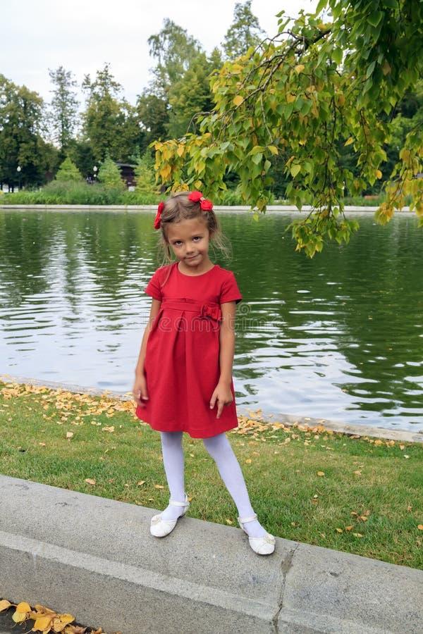 garotinha com cabelos vermelhos e vestido fica em pé perto da lagoa ao ar livre no outono foto de stock