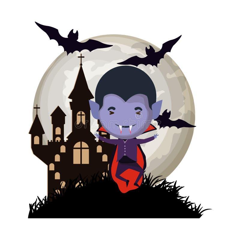 Garotinho bonito com roupa de dracula na cena do castelo escuro ilustração stock