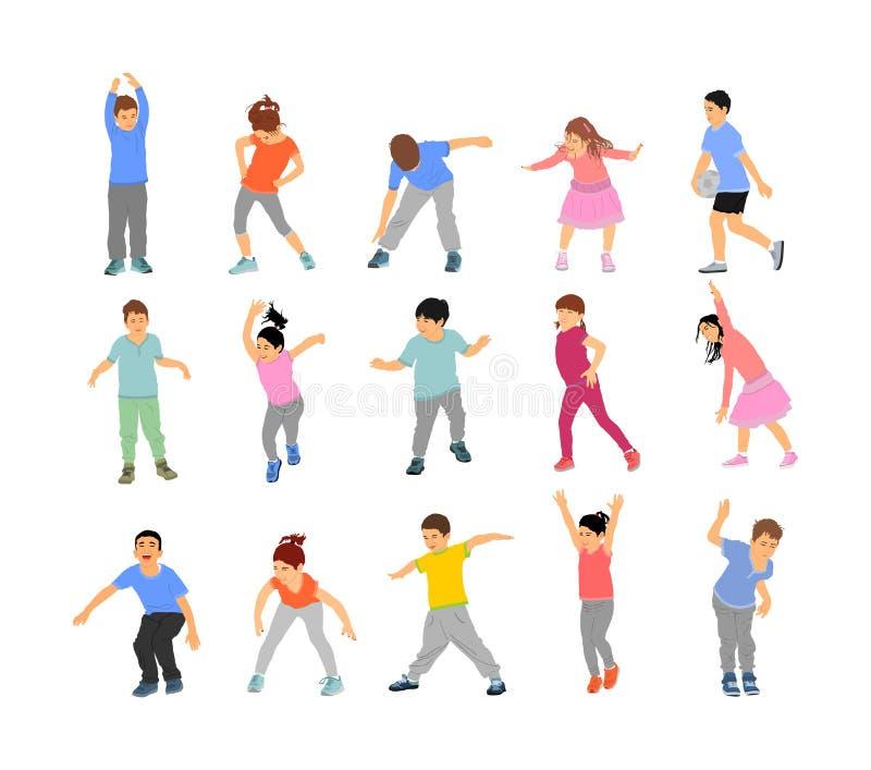 Garotos felizes, meninos e meninas fazendo exercícios de ilustração vetorial isolados em fundo branco Rapaz pulando e jogando ilustração do vetor