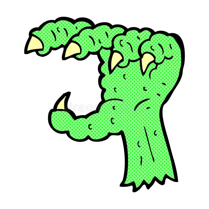 garra cômica do monstro dos desenhos animados ilustração stock
