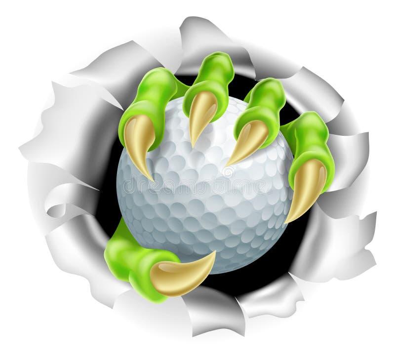 Garra com estoiro da bola de golfe do fundo ilustração royalty free