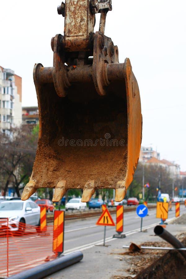 Garra da cubeta da máquina escavadora imagem de stock royalty free