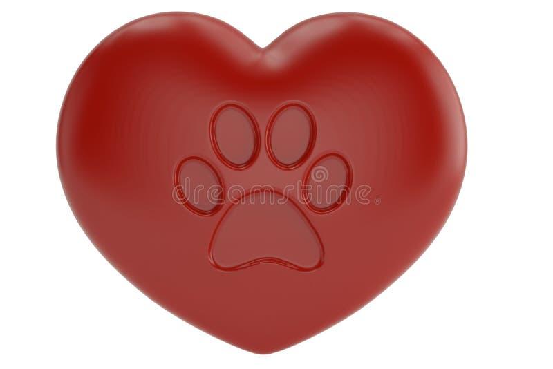 Garra del animal doméstico en el corazón rojo aislado en el fondo blanco ilustración 3D stock de ilustración