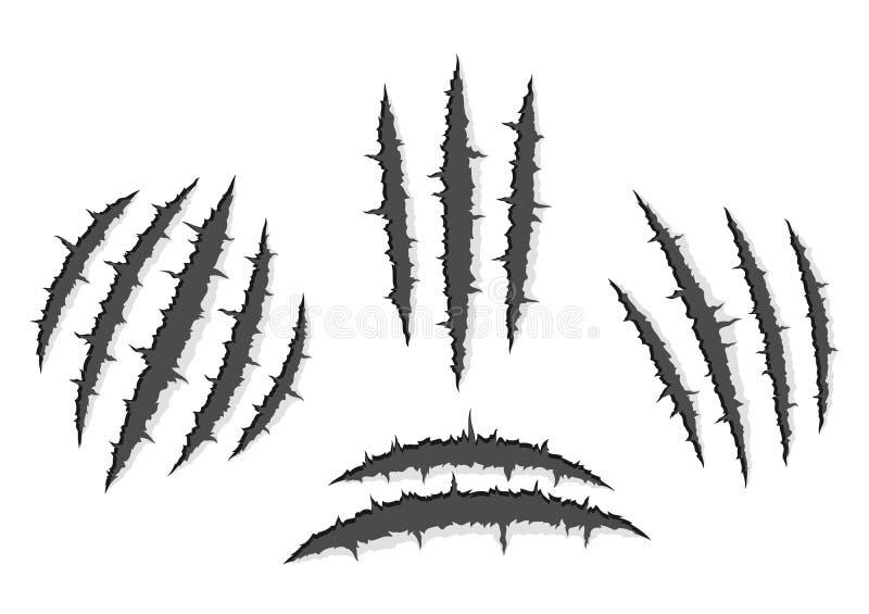 Garra del monstruo, rasguño de la mano, rasgón a través del fondo blanco stock de ilustración