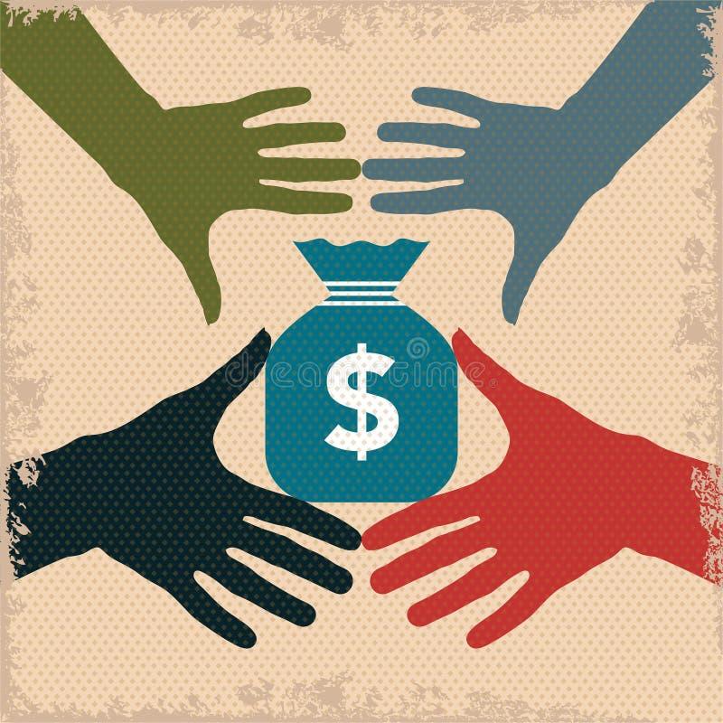 Garra do dinheiro com sinal de dólar ilustração royalty free