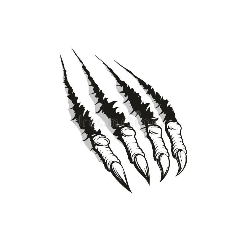 Garra que rasga-se através do fundo, projeto da tatuagem ilustração royalty free
