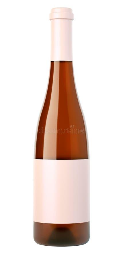Garrafa arrolhada do vinho branco ou da aguardente com a etiqueta vazia isolada foto de stock