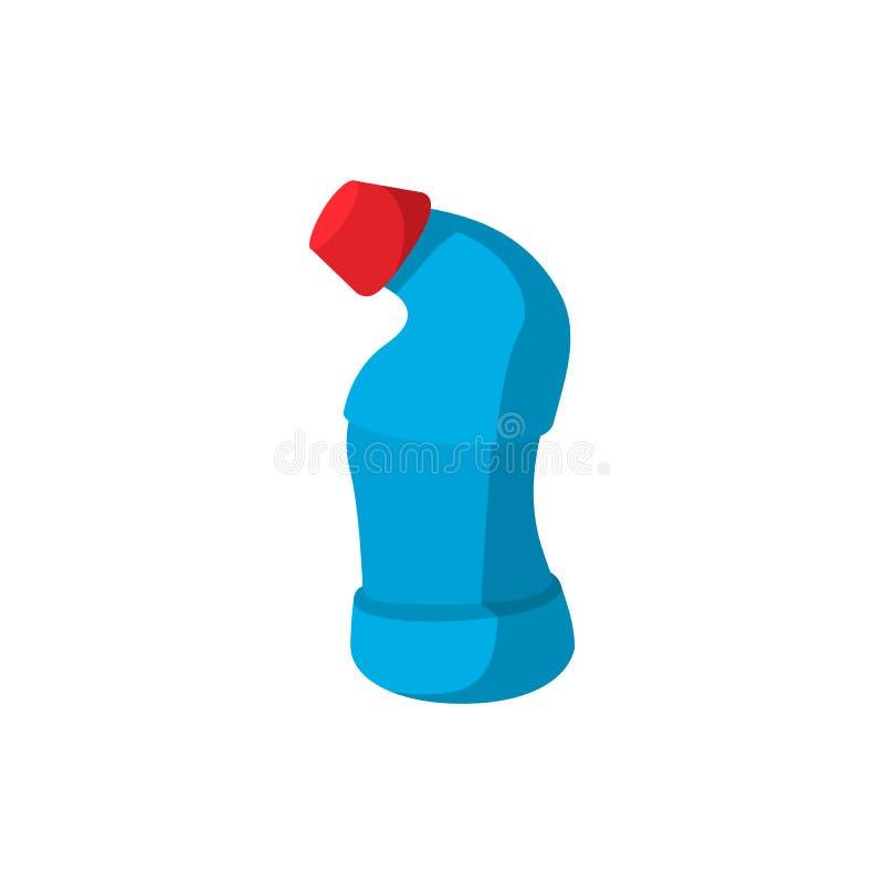 Garrafa azul do líquido de limpeza do toalete com ícone vermelho do tampão ilustração royalty free