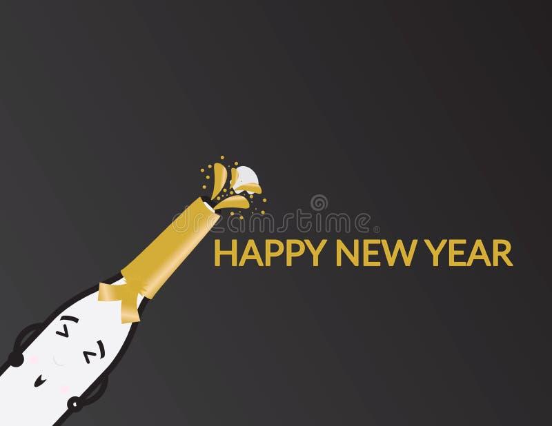 Garrafa bonito de Champagne dos desenhos animados e cumprimento do ano novo feliz no fundo preto ilustração stock