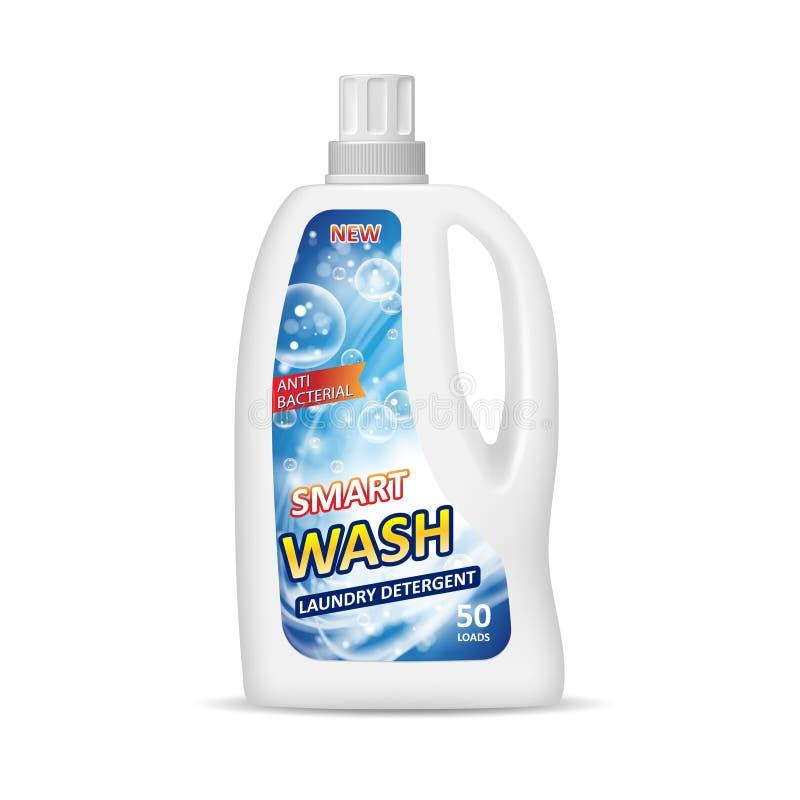Garrafa branca do recipiente com etiqueta Projeto de pacote do detergente para a roupa Garrafa química isolada na ilustração 3d ilustração do vetor
