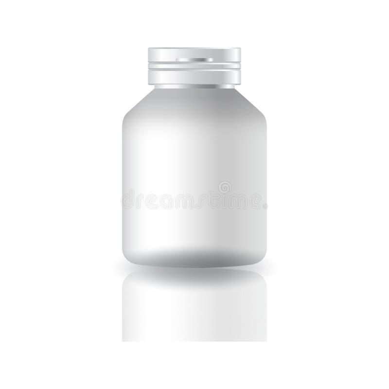 Garrafa branca vazia dos suplementos ou da medicina ao círculo com a tampa do tampão para a beleza ou o produto saudável ilustração royalty free