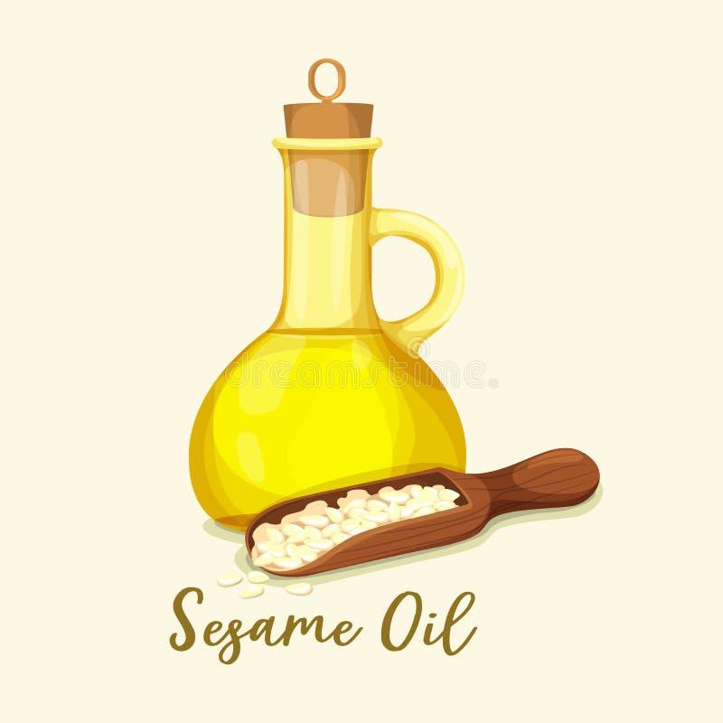 Garrafa com óleo e as sementes dourados de sésamo na colher ilustração do vetor