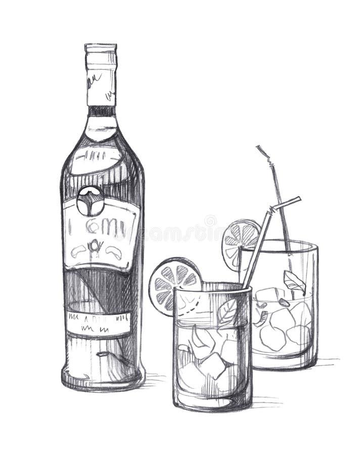 Garrafa com bebida alco?lica e dois vidros de vidro com gelo, lim?o, folhas de hortel? e tubos do cocktail ilustração do vetor