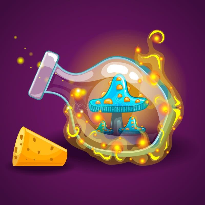 Garrafa com fumo e os cogumelos mágicos ilustração royalty free