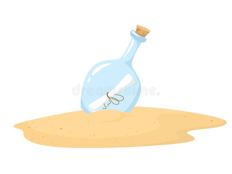 A garrafa com a letra dentro de encontra-se na areia Vector a ilustra??o no estilo dos desenhos animados em um fundo branco ilustração stock