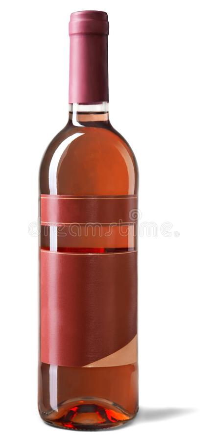 Garrafa com o vinho cor-de-rosa isolado no fundo branco foto de stock