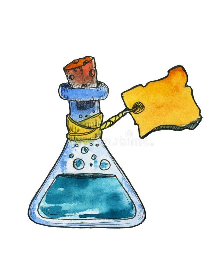 Garrafa com solução química ou poção mágica etiqueta Garrafa para o jogo do rpg ícone ilustração do vetor