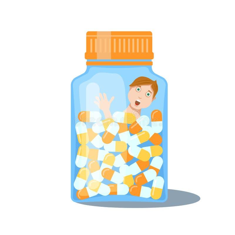 Garrafa com tabuletas da droga e ilustração do homem ilustração stock