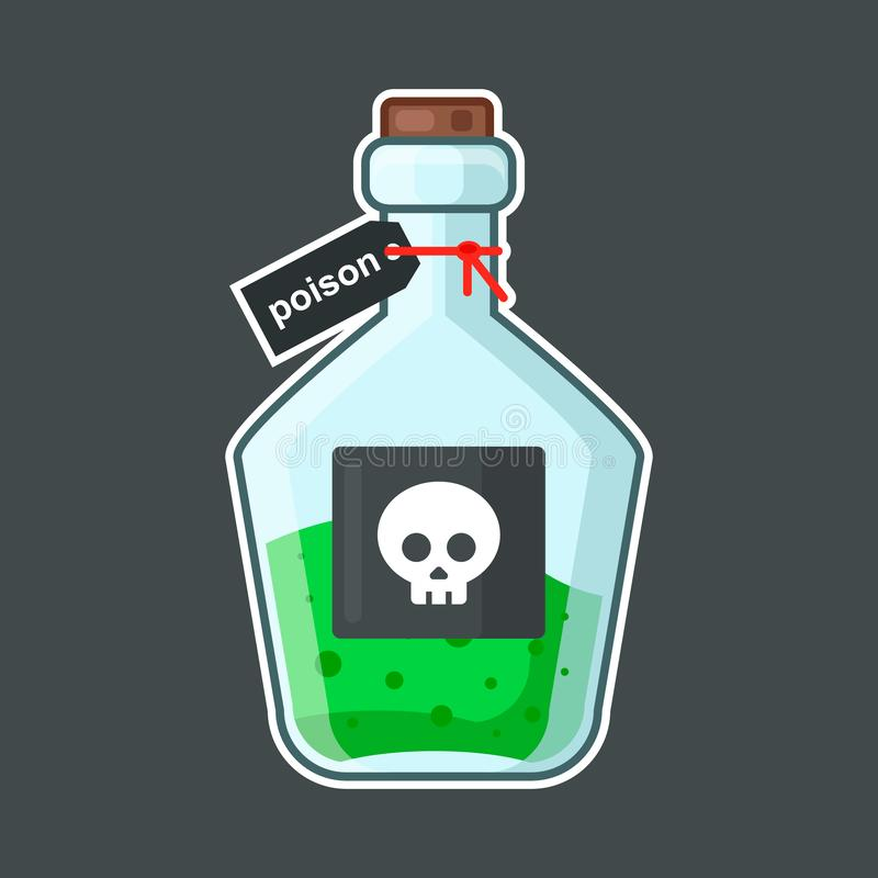 Garrafa com veneno em um fundo preto ilustração do vetor