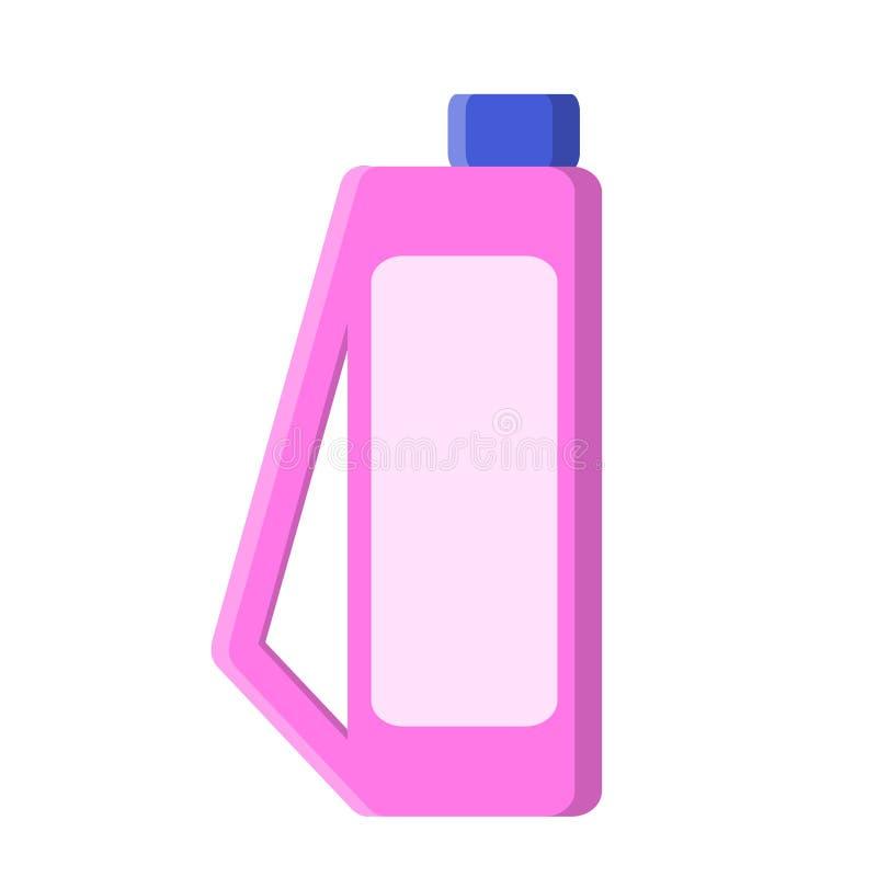 Garrafa cor-de-rosa com sabão do líquido de limpeza no estilo liso na ilustração branca, conservada em estoque do vetor ilustração stock