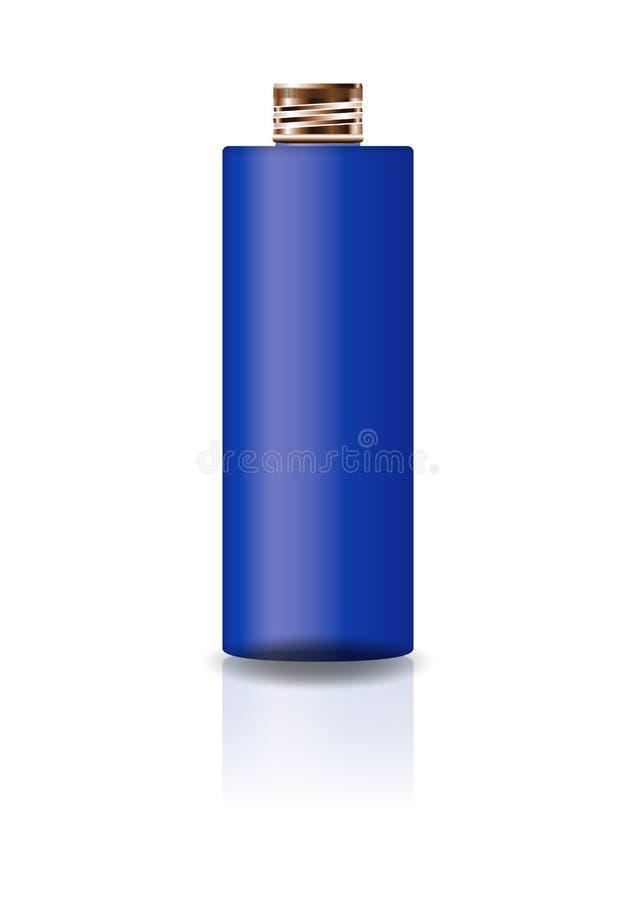 Garrafa cosmética azul vazia do cilindro com a tampa de cobre para a beleza ou o produto saudável ilustração stock