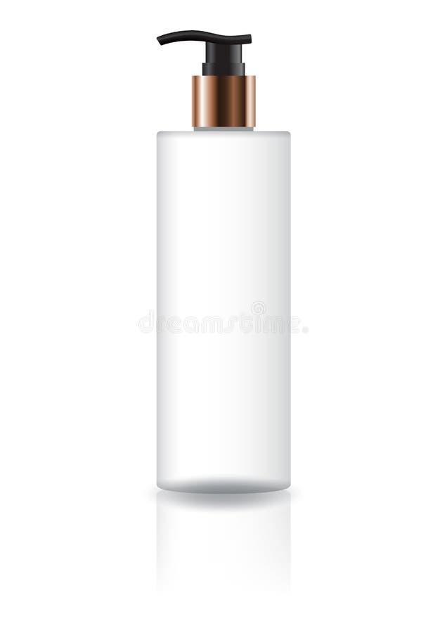 Garrafa cosmética branca vazia do cilindro com cabeça da bomba e o pescoço pretos do cobre para o empacotamento do produto de bel ilustração stock