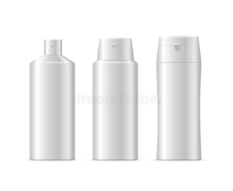 Garrafa cosmética do champô branco realístico da placa do molde isolada Vetor ilustração stock