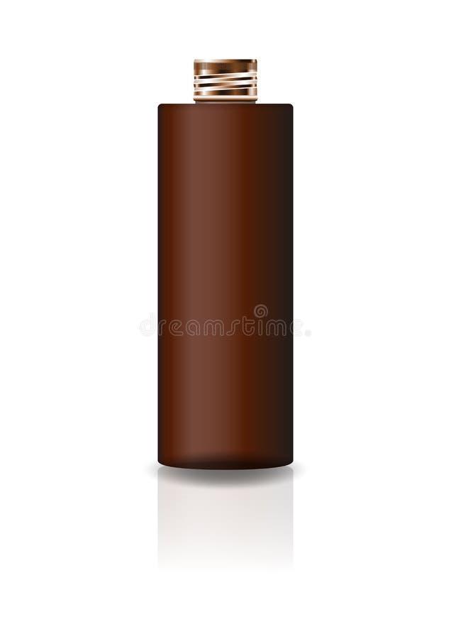 Garrafa cosmética marrom vazia do cilindro com a tampa de cobre para a beleza ou o produto saudável ilustração royalty free