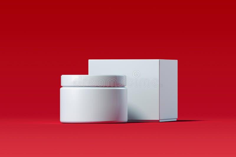 Garrafa cosmética para o creme, gel, loção Frasco de creme plástico branco rendição 3d ilustração stock