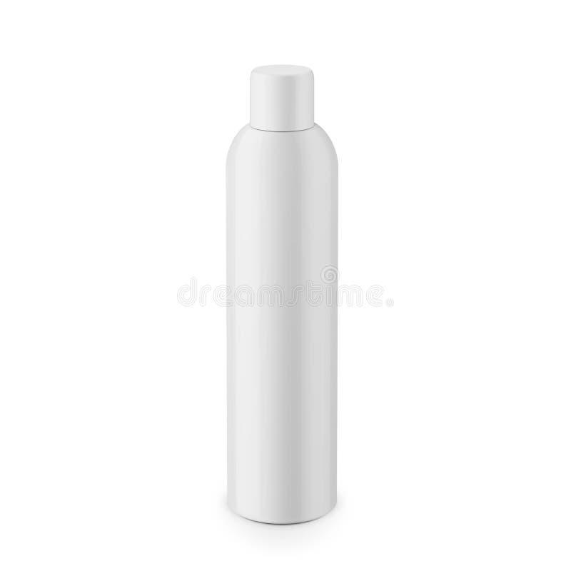 Garrafa cosmética plástica lustrosa branca redonda ilustração do vetor