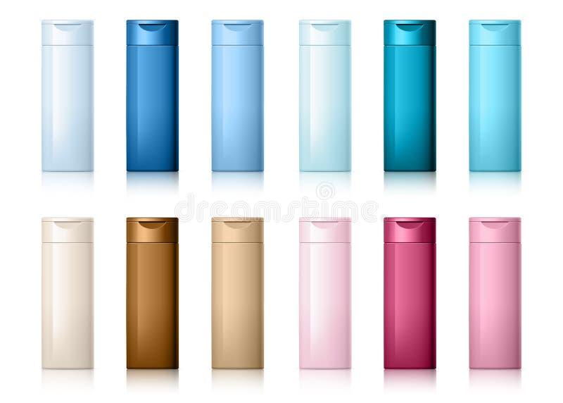 A garrafa cosmética realística pode recipiente do champô ilustração stock