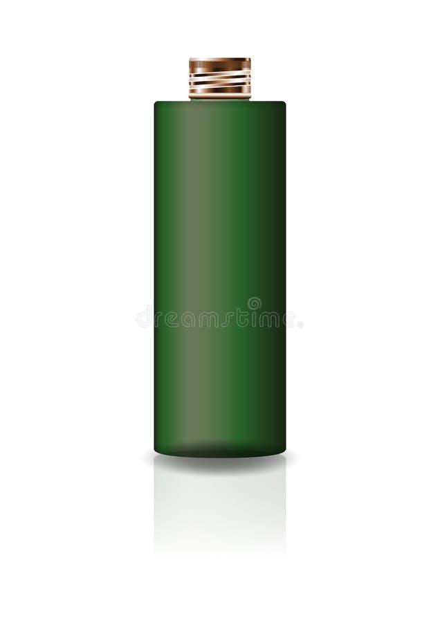Garrafa cosmética verde vazia do cilindro com a tampa de cobre para a beleza ou o produto saudável ilustração royalty free