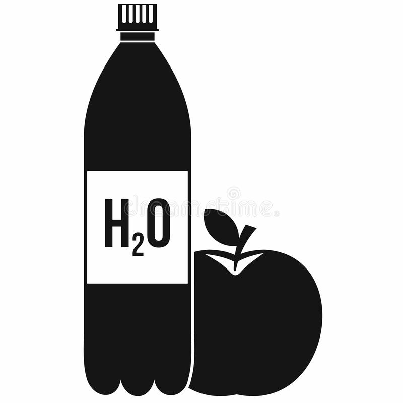 Garrafa da água e do ícone vermelho da maçã, estilo simples ilustração royalty free