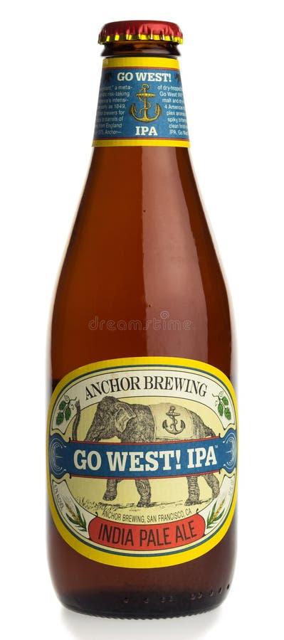 A garrafa da âncora americana vai a cerveja ocidental do ofício de IPA foto de stock royalty free