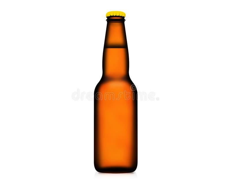 garrafa da ilustração 3D da cerveja isolada no fundo branco foto de stock royalty free