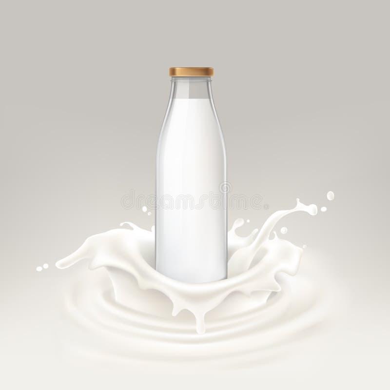 Garrafa da ilustração do vetor completamente do leite ilustração do vetor