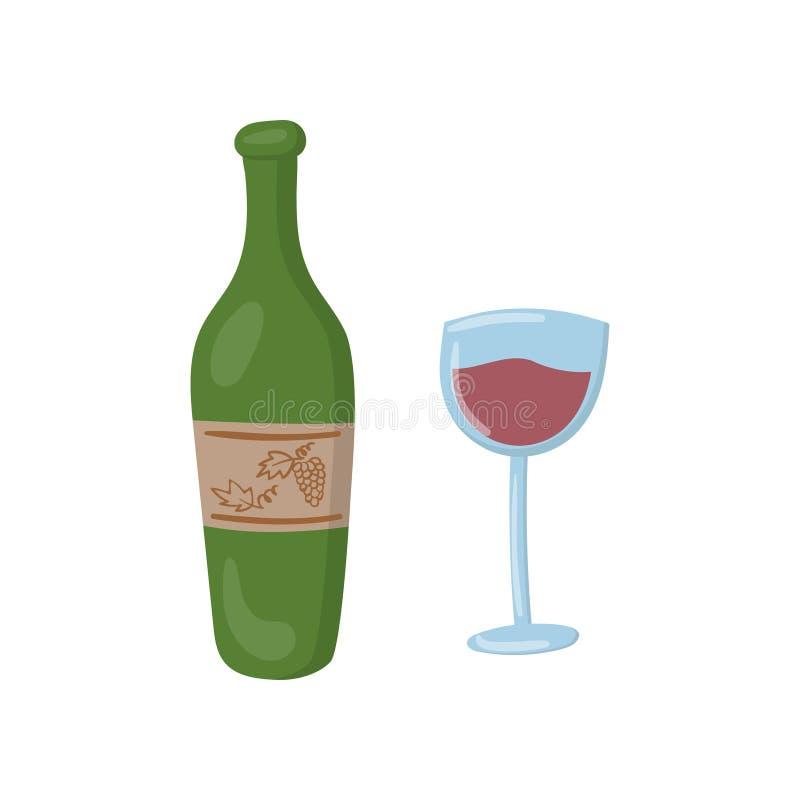Garrafa da ilustração do vetor dos desenhos animados do vinho tinto e do vidro ilustração do vetor