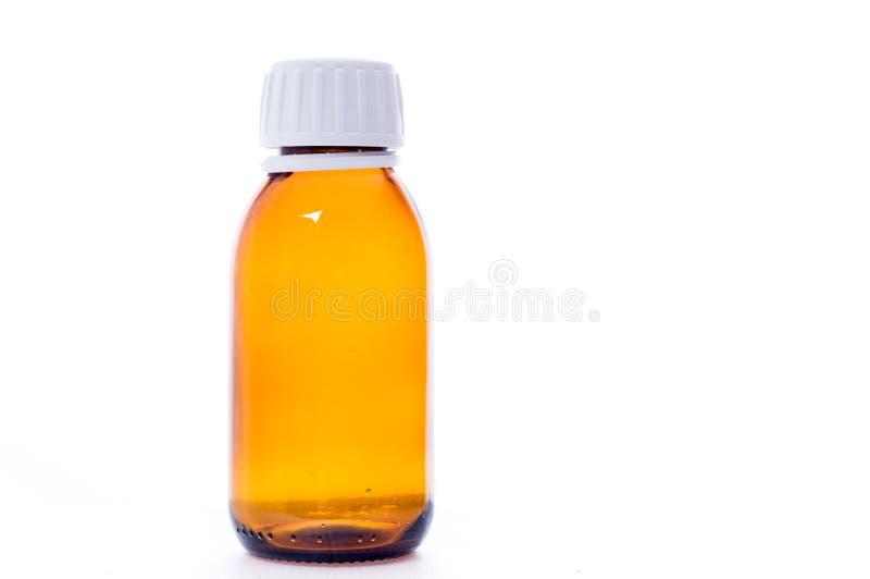 Garrafa da medicina com tampão Utens?lios m?dicos Capacidade para drogas Garrafas médicas do isolado foto de stock