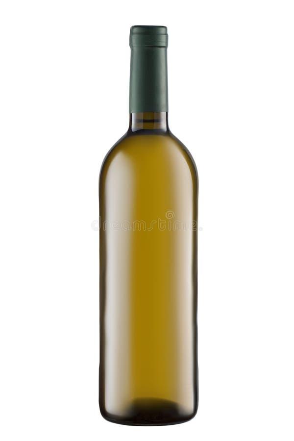 Garrafa da placa do vinho branco de vista dianteira isolada no fundo branco fotos de stock royalty free