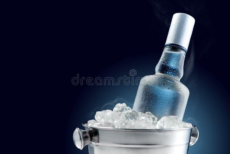 Garrafa da vodca fria na cubeta do gelo fotos de stock royalty free