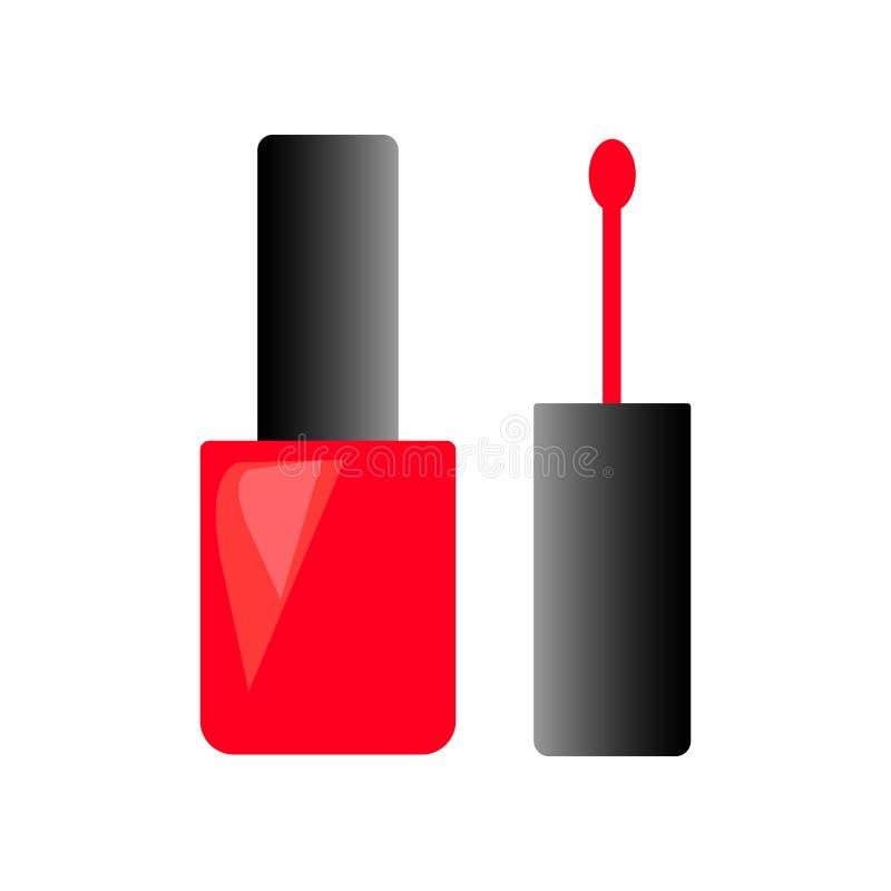 Garrafa da Web do vetor cosmético fêmea do verniz para as unhas vermelho ilustração royalty free