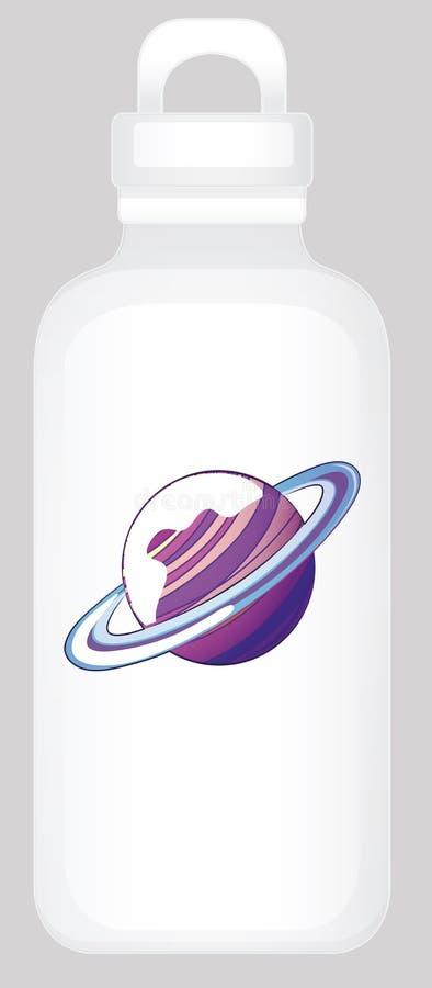 Garrafa de água com gráfico do planeta ilustração stock
